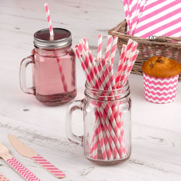 Carnival Pink Paper Straws (25)